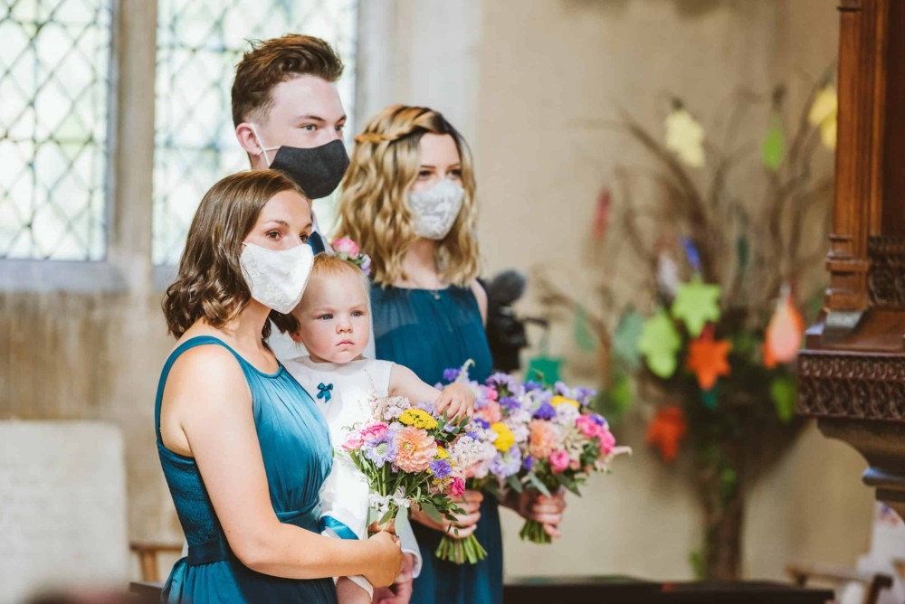 Wedding guests wearing facemasks during ceremony
