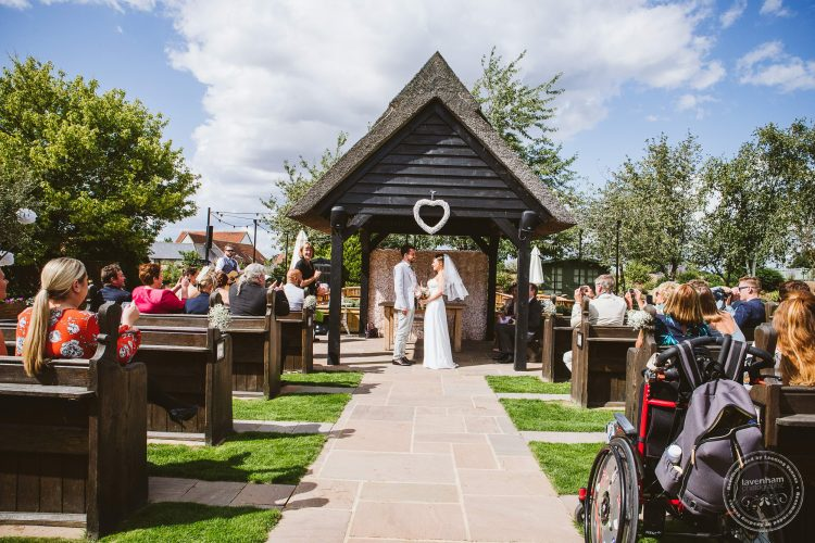 Blue Skies above the outdoor ceremony at Channels wedding