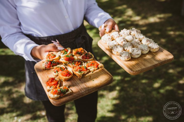 Trays of canapes served to the wedding guests