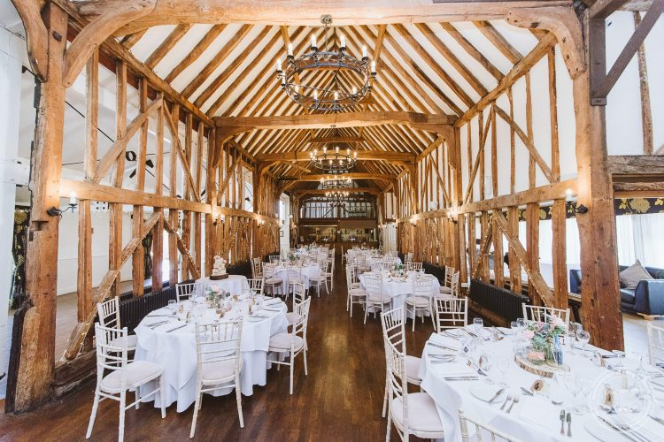 Essex Barn at Channels set up for the wedding breakfast