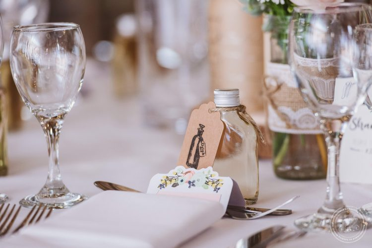 Details of table settings and wedding favours