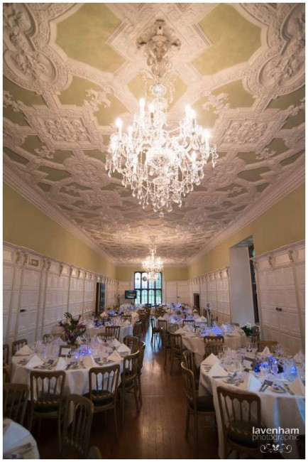 Wedding Breakfast at Hengrave Hall, detail of ceiling photographed