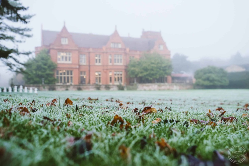 Thick frost on the grass on a foggy morning before Holmewood Hall Wedding