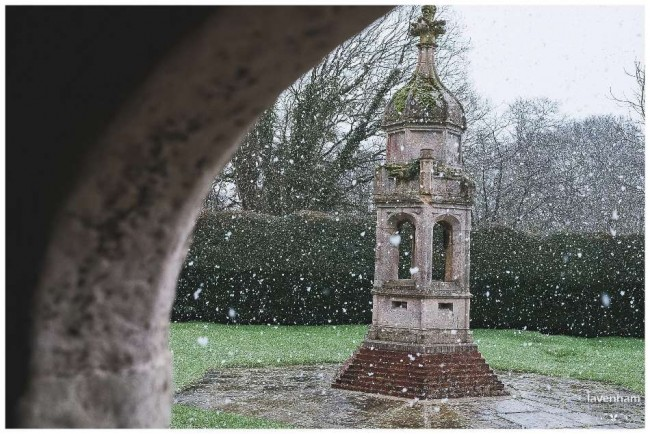 The tower at Leez Priory in the snow