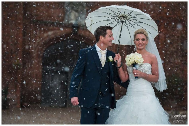 Photography in the snow at Leez Priory, Essex