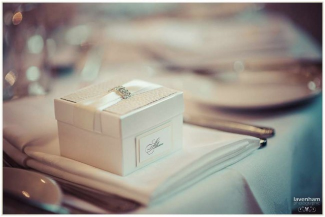 Detail photograph of wedding breakfast table setting
