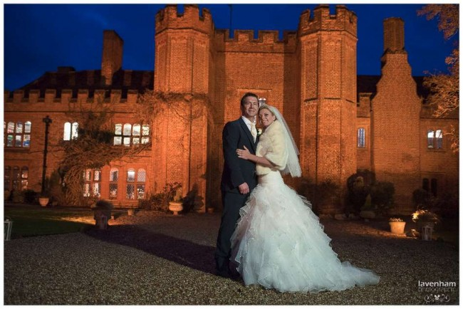 Wedding Portrait taken at Night in front of Leez Priory, Essex