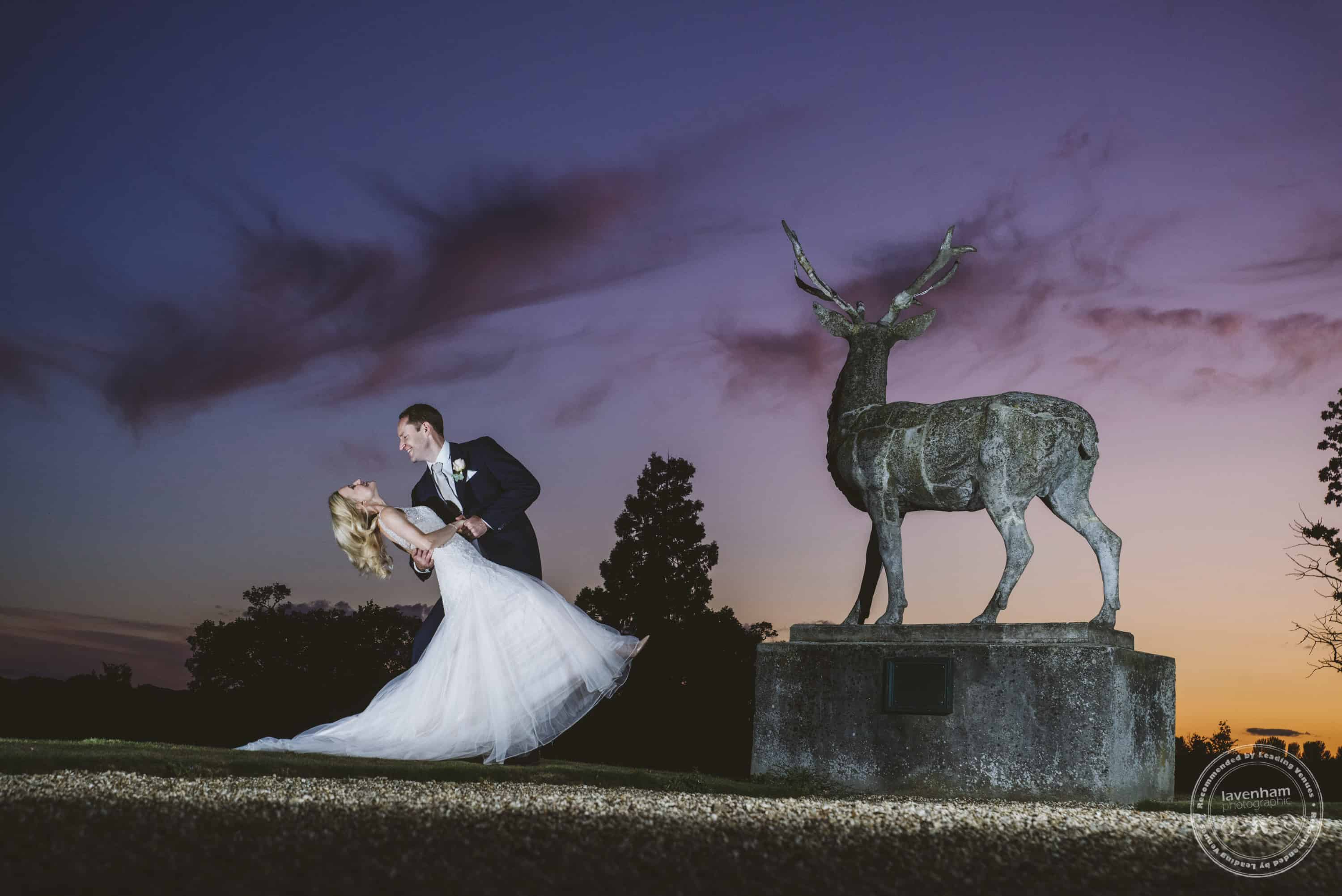 Gorgeous sunset at Gosfield Hall! Bride and groom strike a pose. Lit with off-camera lighting setup