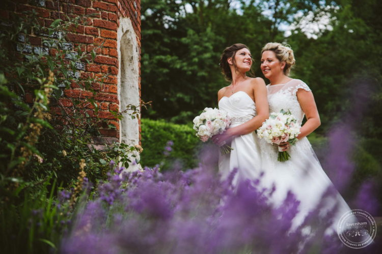 Two Brides at the Tower with lavender in bloom