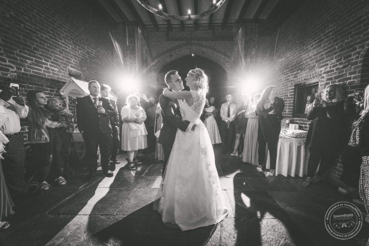 First dance in the carriageway at Leez Priory Wedding. I set up a couple of my remote lights to create these starbursts each side of the bride and groom