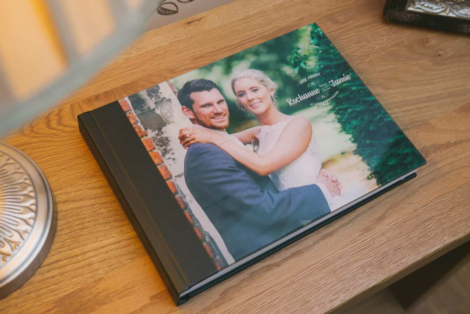 Standard black leatherette wedding album with acrylic cover