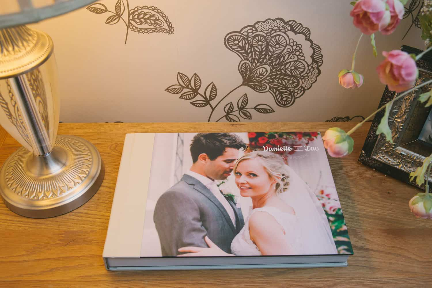 Cream leather wedding album with photographic cover