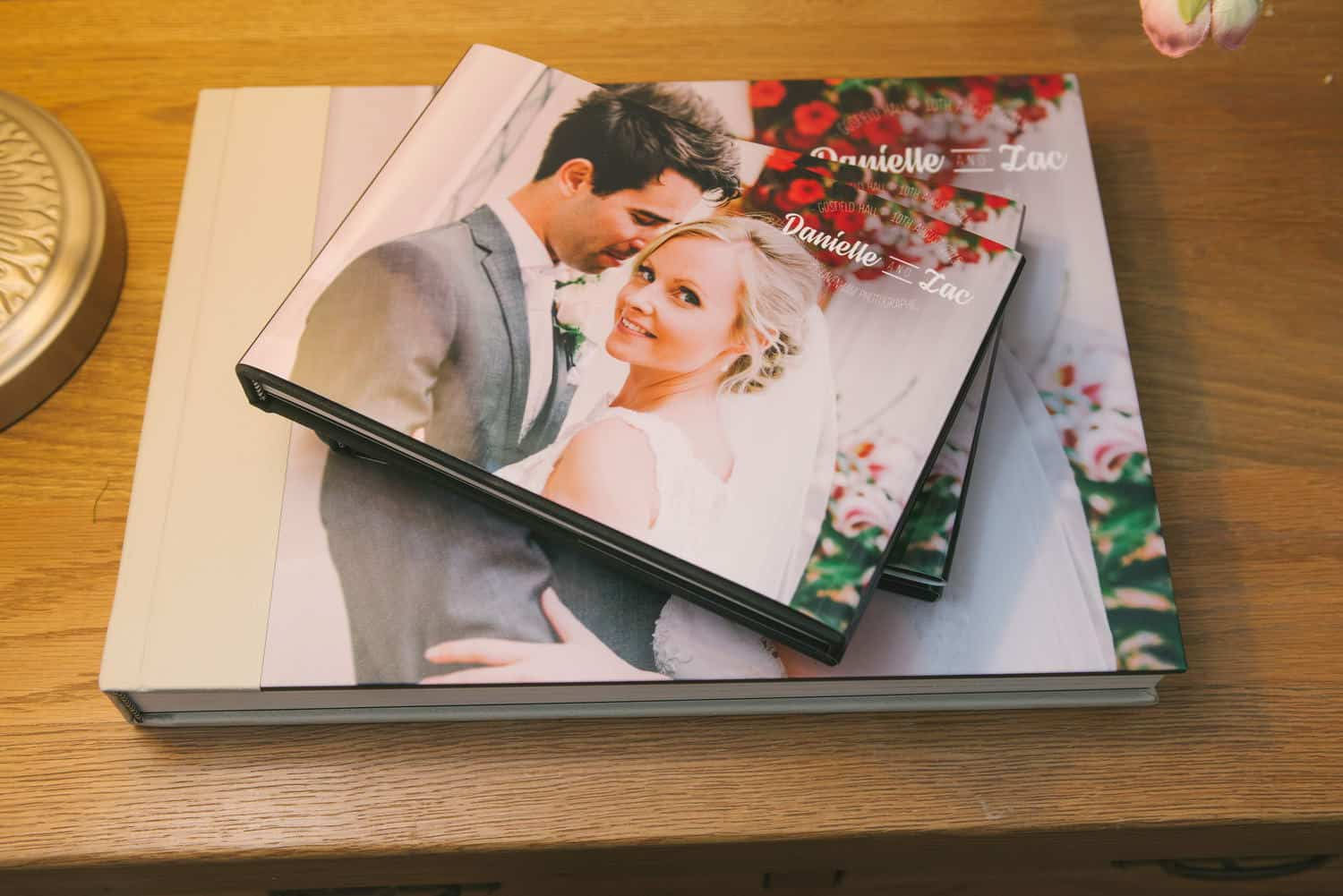 Wedding album with pair of A5 duplicate parents books with photo covers