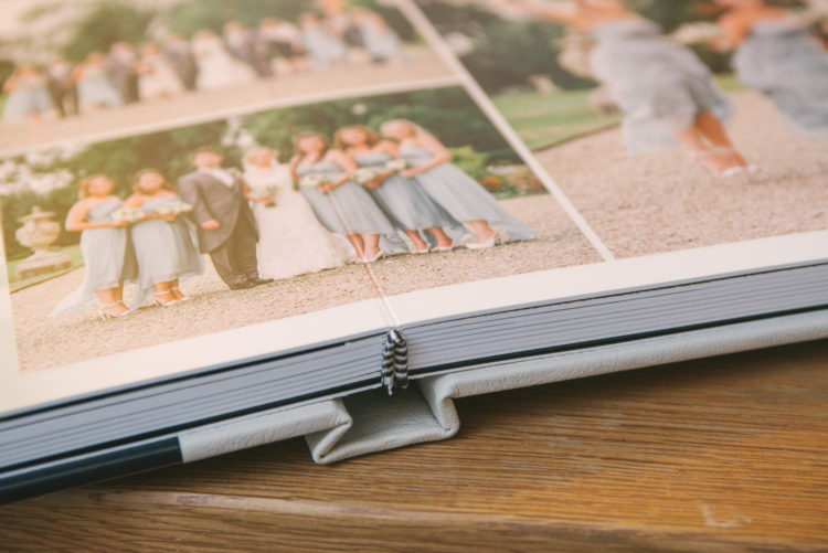 Close up of wedding album lay-flat pages and binding