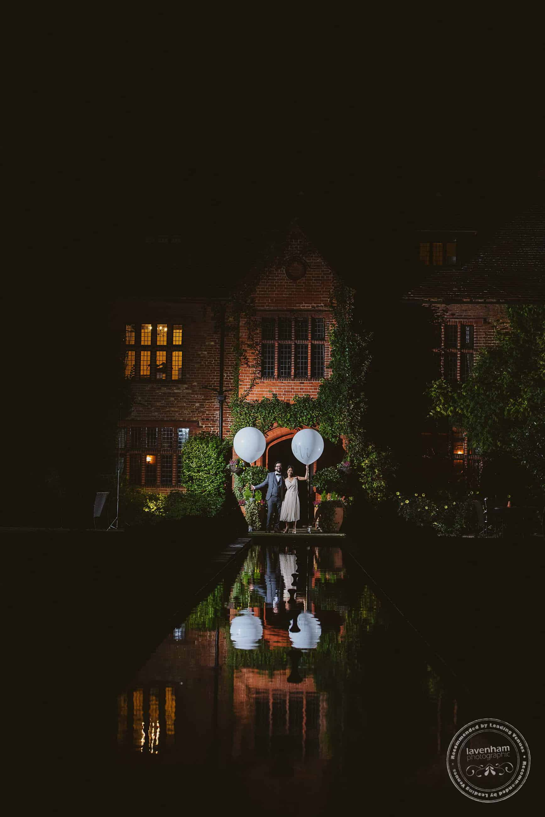 Off-camera lighting and strong reflection make for a striking photo at Woodhall Manor