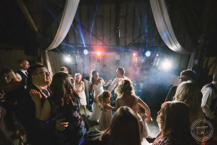 Everyone enjoying the first dance at Alpheton Hall Barn