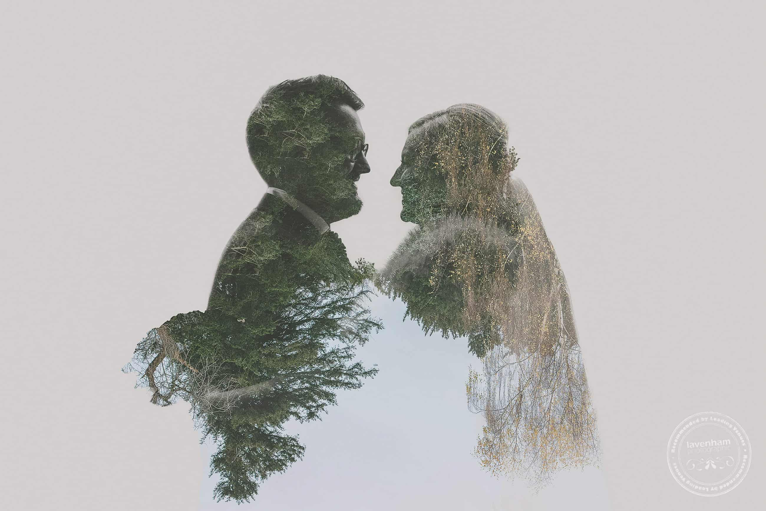 Double-Exposure Photography. This is a striking image created using one heavily silhouetted image of the bride and groom and another of the tree-line at Gosfield. I think this one works particularly well with the bride's fur bolero!